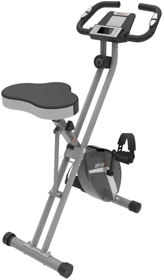 Vélo d'exercice Pliable 8 Niveaux de résistance F-Vélo avec capteur de fréquence Cardiaque + Support de téléphone - Vélo d'appartement confortable de chez ATIVAFIT