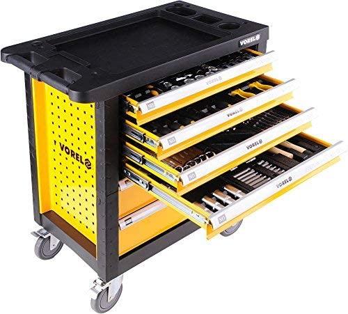 Vorel servante d'atelier sur roulettes Chariot garni avec 177 pièces d'outils, 6 tiroirs à outils